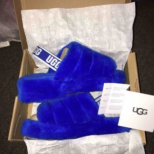 Blue UGG Fluff Yeah Slide
